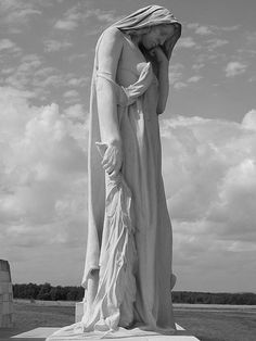 Walter Seymour Allward's Canada Bereft, the looming statue at the Canadian National Vimy Memorial in France, is commonly known as Mother Canada I Am Canadian, Canadian History, Religion, Flanders Field, O Canada, Great Pic, Remembrance Day, World War One, Countries Of The World