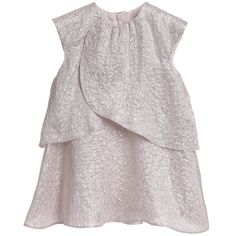 This baby girls Dior dress in a light pink jacquard fabric with a silver metallic rose design running though it has been inspired by Monsieur Dior's love for Art and Festivities. It has scollops of draped fabric falling from each sleeve creating a full voluminous look. The bloomer shaped knickers are made from soft pink silk and have a fully elasticated waist and leg cuffs for a comfortable fit.<br /> <ul> <li>77% silk, 23% polyester</li> <li>Lining: 100% silk</li> <li>Dry ...