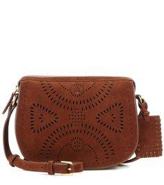 Brown suede cross-body bag