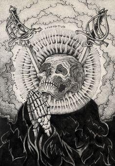 Earth and fire on behance memento mori, occult art, skull art, tattoo drawi Kunst Tattoos, Tattoo Drawings, Art Drawings, Sketch Tattoo, Art And Illustration, Illustrations, Memento Mori, Retro Kunst, Arte Black