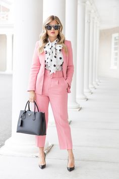 31 Best Polka Dot Blouse for Women Work Outfit - Fashionmgz Formal Business Attire, Business Outfits, Office Outfits, Business Fashion, Work Outfits, Business Suits For Women, Chic Outfits, Plus Size Business Attire, Formal Outfits