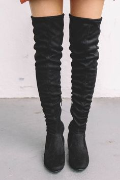 Black thigh high boots feature suede material, a chunky heel, a low side zipper, and drawstring ties in the back with gold ends Heel Thigh High Boots Flat, Flat Boots, High Heel Boots, Knee Boots, Timberland Boots Style, Tight Thighs, New Fashion Trends, Suede Material, Amazing