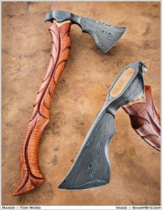 Axe by Tom War at Tempest Craft. Make this but put a cap on the top that has the two nails attached that would swell the wood to secure the axe head. Cool Knives, Knives And Swords, Vikings, Beil, La Forge, Fantasy Weapons, Custom Knives, Katana, Rifles