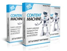 WP Content Machine – What Is It?WP Content Machine is a new wordpress plugin that automatically posts and monetizes fresh content to your wordpress sites all on 100% autopilot. This wordpress plugin will allow you to create amazing content for your blogs, websites and affiliate sites that has always been a huge problem.