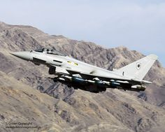 A Royal Air Force Typhoon aircraft from RAF Coningsby is pictured during Exercise Green Flag 08 held at Nellis AFB, Nevada, USA.