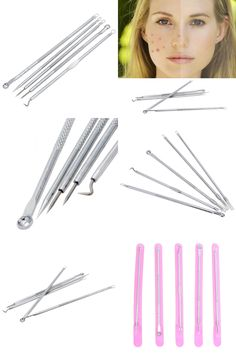 [Visit to Buy] 5pcs/set Acne Needle Tweezers Blackhead Pimples Removal Pointed Bend Face Skin Care Tools Comedone Acne Extractor #Advertisement
