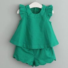 2017 New Arrival Spring&Summer Girls Clothing Sets O-Neck Sleeveless Solid Kids Clothing Sets Children Clothing Baby Dress Design, Baby Girl Dress Patterns, Frock Design, Girls Summer Outfits, Little Girl Dresses, Kids Outfits, Summer Girls, Children's Outfits, Baby Frocks Designs
