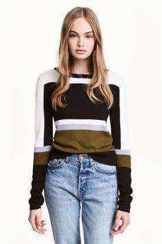 Rib-knit jumper - Black/Green - Ladies | H&M CA