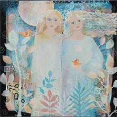 Painting artMoon Sisters women an original by SueDavisStudio, $185.00