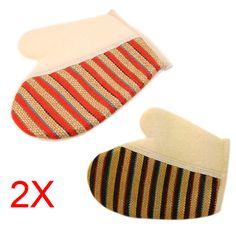 2pcs New Stripe Shower Scrubber Back Scrub Exfoliating Body Massage Sponge Bath Gloves  @ME88