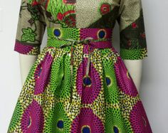 AYAWAX Collection. African Print Fit and Flare  Dress. Inside
