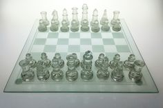 Glass chess set, frosted vs clear,  boxed & ploy protected  item 0165