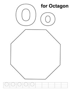 O for octagon coloring page with handwriting practice | Download Free O for octagon coloring page with handwriting practice for kids | Best Coloring Pages