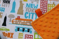 New York City Lovey with Orange Minky Dot and Loops by iyuddayou, $13.00