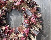 Primitive Americana Burlap Small Rag Wreath Homespun Fabrics Rustic Spring Decor