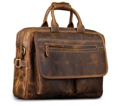 Kattee Real Leather Durable Briefcase Laptop Bag