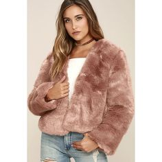 Somedays Lovin' The Giver Mauve Faux Fur Coat ($135) ❤ liked on Polyvore featuring outerwear, coats, pink, cropped coat, beige coat, pink faux fur coat, imitation fur coats and pink coat