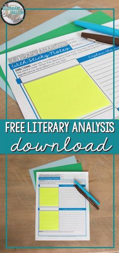 Free sticky note graphic organizer to use when teaching literary analysis in the middle school and high school English language arts classroom from The Secondary English Coffee Shop.