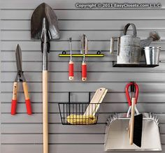 Tip of the Day: Organize yard tools by hanging them on a storewall in the garage or shed. It's easier to find them when they're hung on the wall in plain sight and keeps them off the ground to avoid rust and damage.