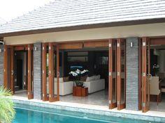 Pool Gazebo, Folding Patio Doors, Architecture 101, Modern Small House Design, Bali House, Outside Patio, House Yard, Tropical Houses, Exterior Lighting