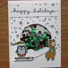 Happy Holidays Fuse Shaker Card - using Alpaca Stamp and die, Toboggan Together Stamp and Die.  For details how I made this please visit on line shop tutorial blog. Why not sign up for our monthly newsletters.  Be the first to know about new products, sales and more.