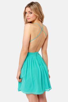 Pretty Aqua Dress - Lace Dress - Backless Dress - $48.00