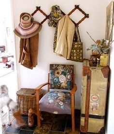 Love that area. I was going to do a coat tree or a coat bench BUT I love this way better!! Repurpose, Reuse, Recycle & has CHARACTER!!!