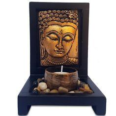 """Porta-Vela Zen """"Buda Gold""""  - https://www.artesintonia.com.br/porta-vela-zen-face-buda-gold-15x11cm"""
