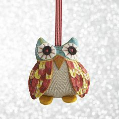 Calico Owl Ornaments in View All Ornaments | Crate and Barrel