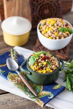 Roasted Corn & Basil Farro Salad