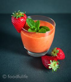 Light Mango And Strawberry Smoothie. Dairy-free, no added sugar and packed with vitamin C! Sunshine in a glass!