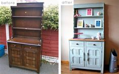 DIY: Painted Hutch... painting our bookshelf/dresser into a mini bar.