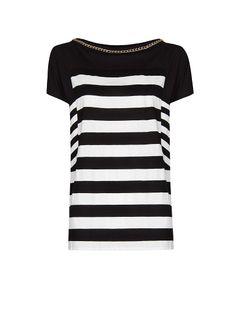 MANGO - Streifen-T-Shirt mit Kette