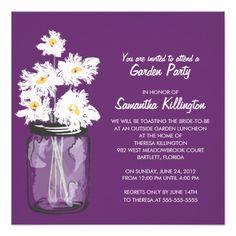 Garden Party Mason Jar & White Daisies Custom Announcement