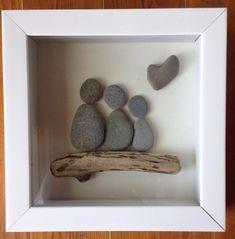 Pebble art family of 3 representation shadowbox driftwood