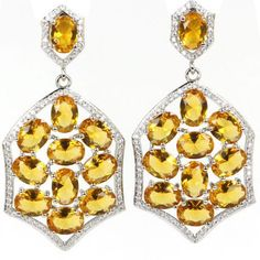 EARRINGS GOLD CITRINE SILVER