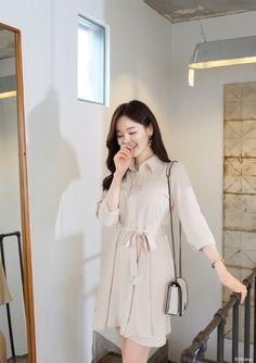 Korean Fashion Dress, Korean Fashion Casual, Korean Dress, Kpop Fashion Outfits, Korean Outfits, Fashion Dresses, Skater Fashion, Fasion, Cute Skirt Outfits