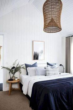 White and Blue Bedroom Decoration Ideas with Black and White Bedroom Wall Decor White Bedroom Design, Bedroom Colors, Home Decor Bedroom, Bedroom Wall, Bedroom Furniture, Bedroom Ideas, Bedroom Neutral, Bed Room, Bedroom Beach