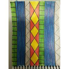 Estampa inspirada na cultura indígena brasileira.