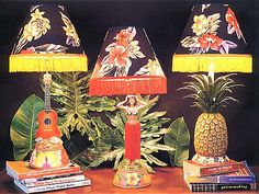 Vintage Hula Lamps, pineapple lamp and uke lamp...sweet!