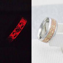 Novos Homens Originais Anel Luminoso Glow In The Dark Gold Dragon Inlay Anéis de Prata Em Aço Inoxidável Moda Jóias Anel Masculino(China (Mainland))