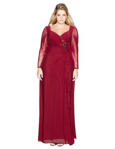 Mascara Embellished mesh evening gown in Bordeaux-Red