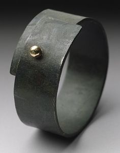 Steel Snap Ring: Peg Fetter: Gold & Steel Ring - Artful Home Leather Jewelry, Metal Jewelry, Jewelry Art, Diamond Jewelry, Jewelry Rings, Silver Jewelry, Jewelry Accessories, Silver Rings, Jewelry Design