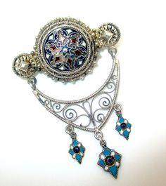 Antique David Andersen Norway 830 Silver Enamel Solje Pin Brooch Circa 1900
