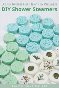 See how to make and how to use the best DIY shower steamers for health and wellness recipes Made with cornstarch and baking soda quick and easy natural shower bombs are g. Eucalyptus Shower, Eucalyptus Candle, Natural Showers, Aromatherapy Recipes, Aromatherapy Products, Homemade Essential Oils, Spearmint Essential Oil, Shower Steamers, Bath Bomb Recipes