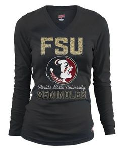 Support your favorite college football team in this Florida State University T-Shirt. T-Shirt features long sleeves, V-neck and a Florida State Seminoles screenprint on the front. Quality construction that never goes out of style. GO NOLES.