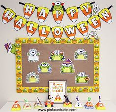 Create a fun and unique Halloween bulletin board that your students will love with this Halloween Frogs Bulletin Board Set, Writing Activity and Guessing Game! By Pink Cat Studio