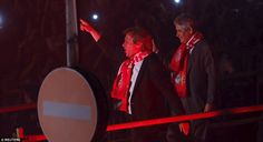Benfica manager Jorge Jesus (left) gestures with the club's president Luis Filipe Vieira during the celebrations in Lisbon