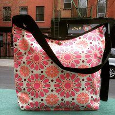 Pink Floral Cotton Print Market Bag, Vintage Inspired Floral Print Messenger Tote, Satchel and Shoulder Bag by Loveshine on Etsy