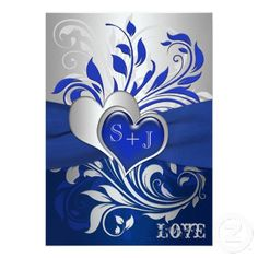 Royal blue and silver floral heart wedding invitations royal blue silver black wedding invitations filmwisefo